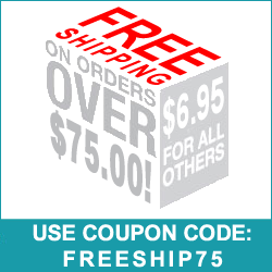 Free shipping on orders greater than $75.00! Use Coupon Code FREESHIP75